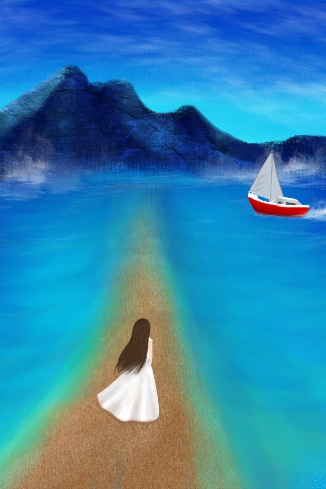 hand painted ocean blue sea, Small Island, Girl, Boat illustration image