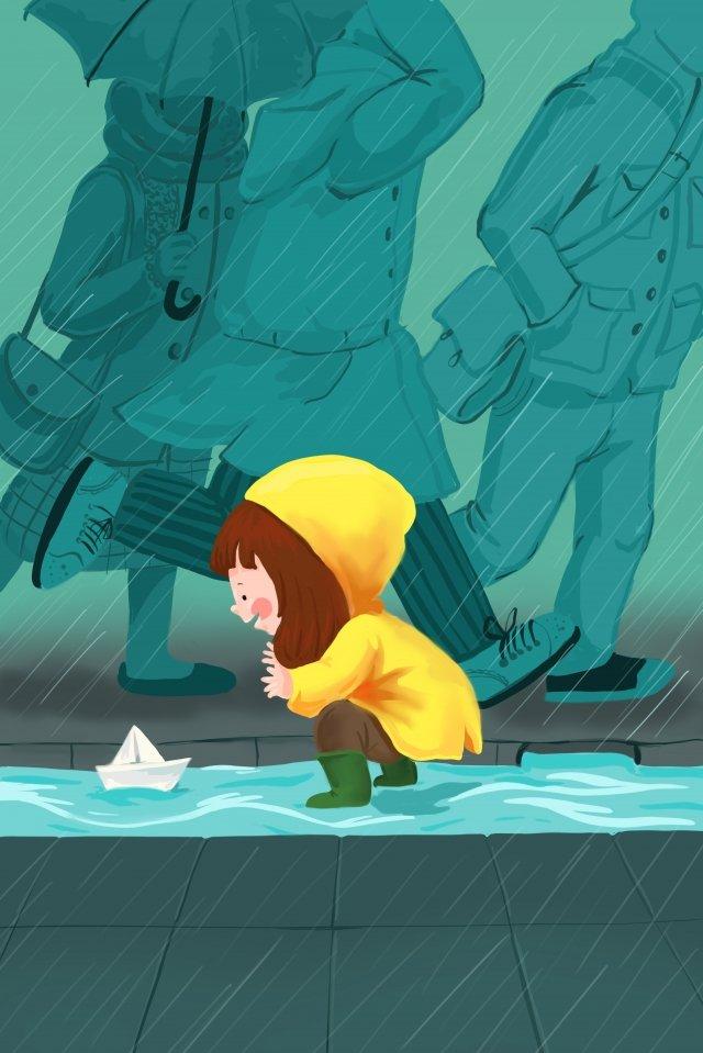 手繪雨愛情人物 插畫圖片