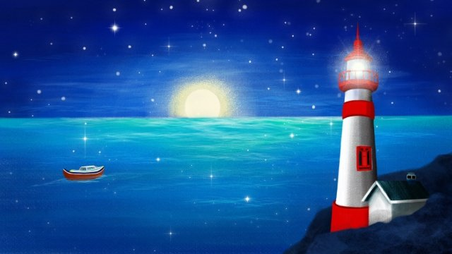 hand painted sea lighthouse night, Sea, Sky, Boat illustration image