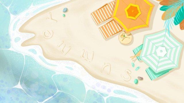 hand painted sea summer beach beach, Vacation, Hand Drawn Beach, Umbrella illustration image