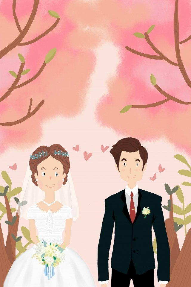 hand painted solid color cherry blossoms pink, Wedding, Bridegroom, Bride illustration image