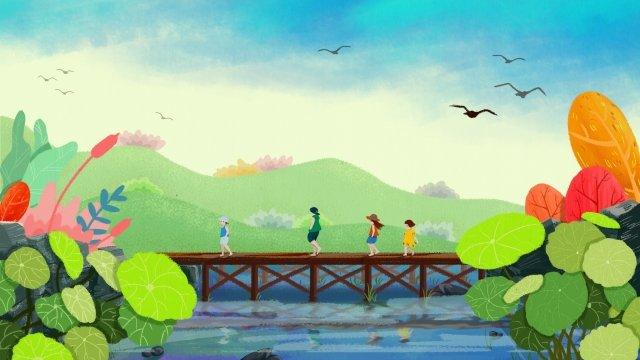 手描きの木製の橋を渡る上のステップ イラストレーション画像