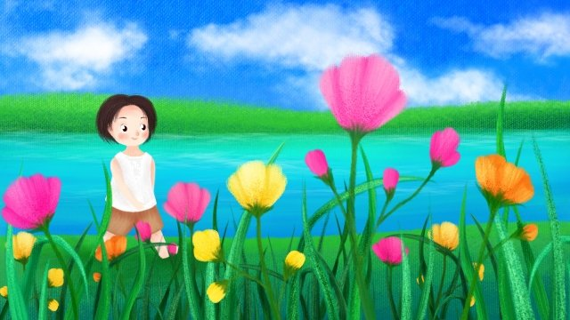 hand painted summer lakeside child, Play, Midsummer, Flower illustration image