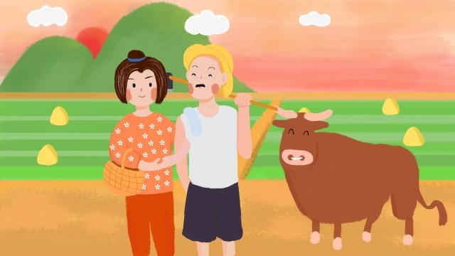 hand painted sunset glow country illustration, Farmer, Village Woman, Cattle illustration image