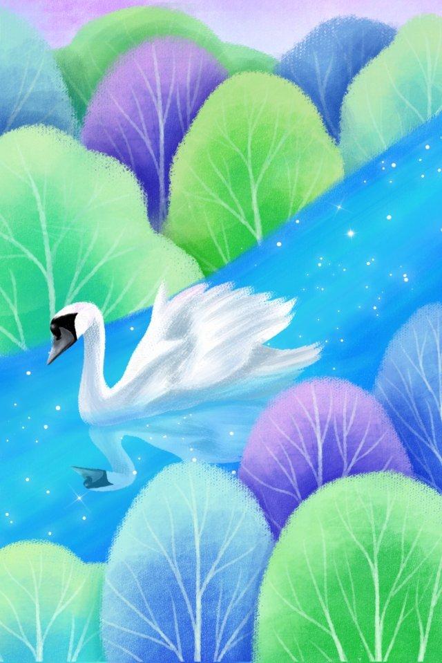 手描きイラスト、白鳥 手描き 白鳥 イラスト 日本語 ウッズ 湖水 美しい手描き  白鳥  イラスト PNGおよびPSD illustration image
