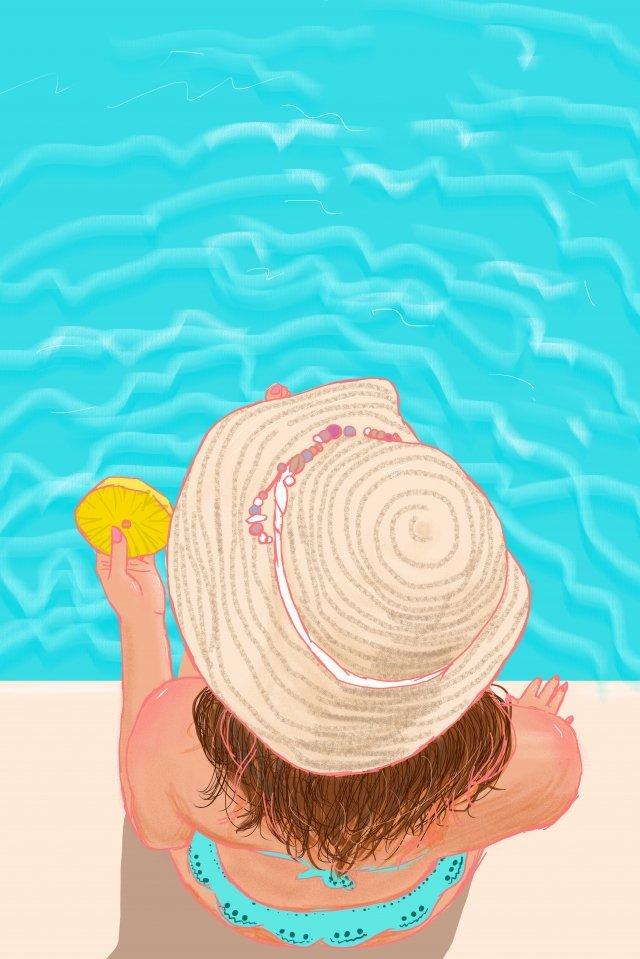手描きのスイミングプールの休暇の背景 イラスト素材 イラスト画像