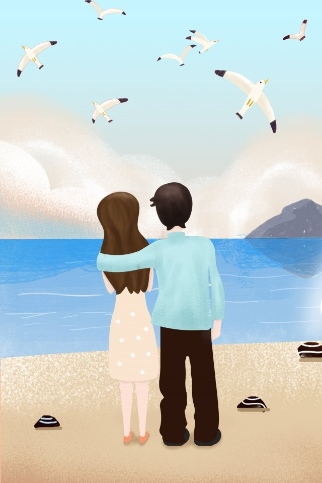 hand painted tanabata valentines day cartoon, Beautiful, Style, Seaside illustration image