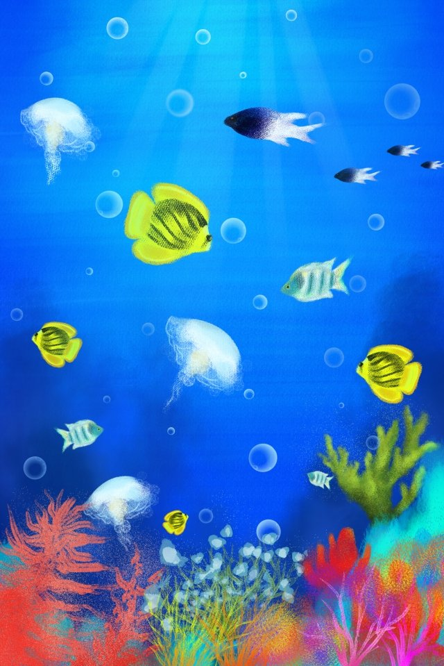 hand painted underwater world illustration fish, Ocean, Sea, Marine Life illustration image