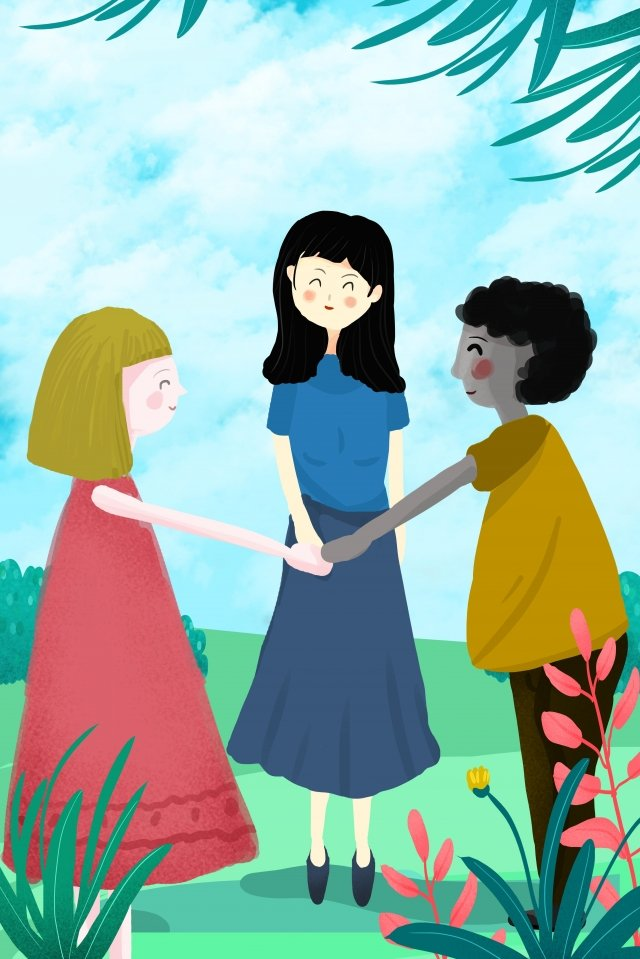 hand ride play games sunny day girl, Green, Blue, Red illustration image