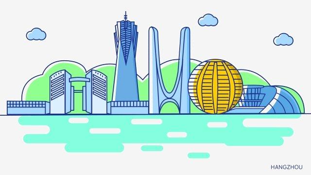 항주 오페라 하우스 서호 문화 광장 항주 도서관 국제 회의 센터 삽화 소재 삽화 이미지