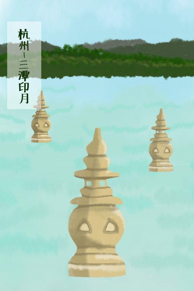杭州三池景觀湖面 插畫圖片