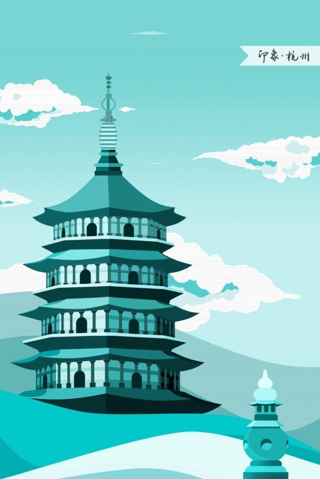 hangzhou west lake leifeng tower impression llustration image illustration image