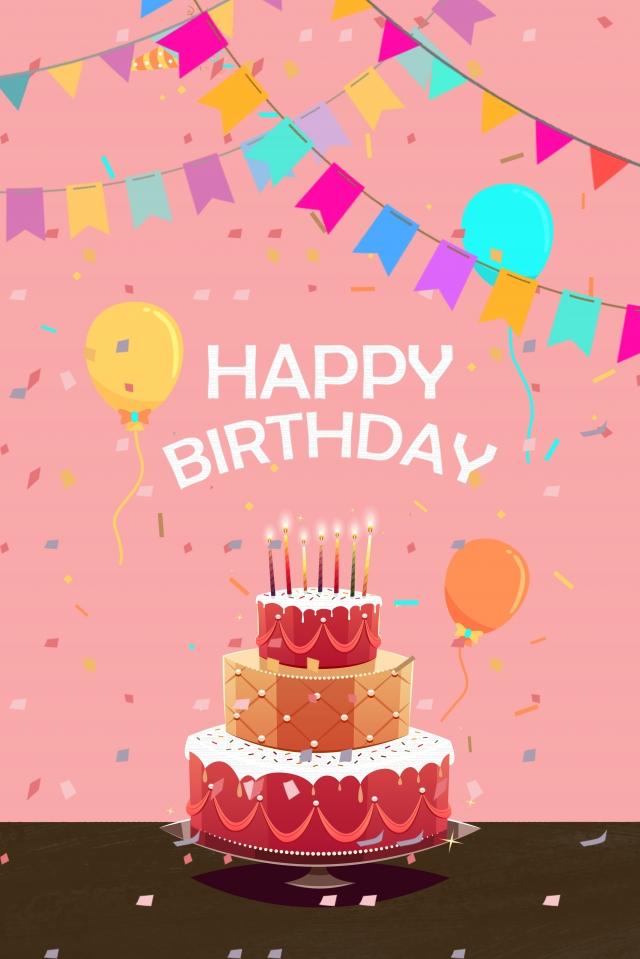 生日快樂生日蛋糕氣球煙花 插畫圖片