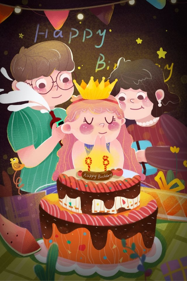 生日快樂吹蠟燭做一個願望生日蛋糕 插畫素材 插畫圖片