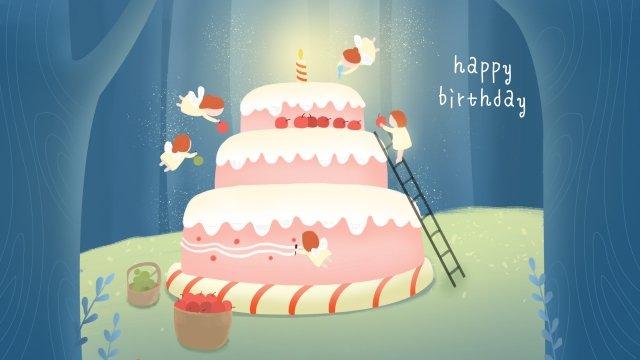 生日快樂蛋糕森林精靈 插畫素材