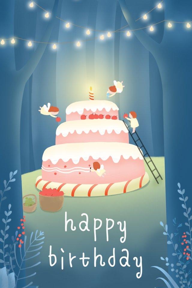 生日快樂蛋糕森林精靈 插畫圖片