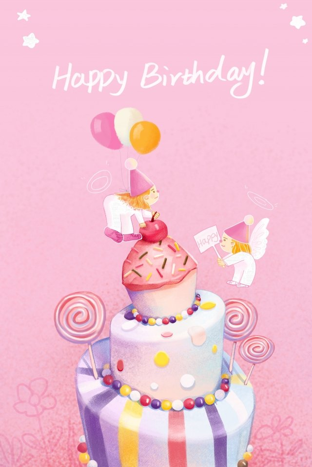 happy birthday pink cute and warm little angel, Birthday Cake, Lollipop, Hand Drawn Style illustration image