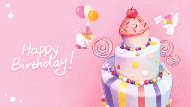 happy birthday pink cute and warm little angel llustration image