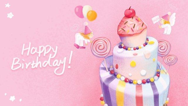 お誕生日おめでとうピンクかわいいと暖かい小さな天使 イラストレーション画像