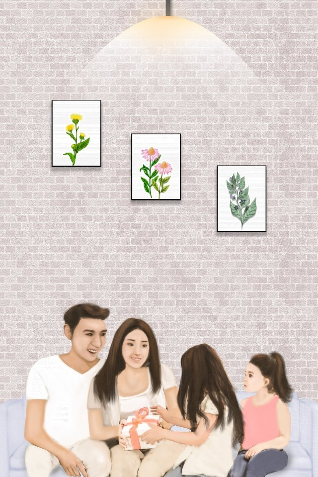 happy family a family of four mom and dad mothers day gift, Filial Daughter, Home Life, Warm Family illustration image