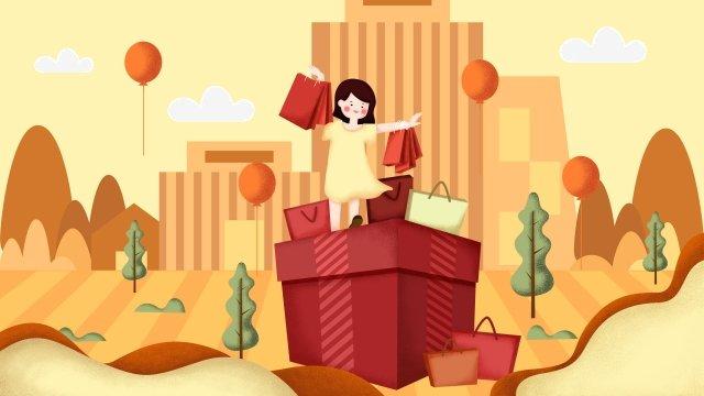 행복 한 선물 따뜻한 색상 어린 소녀 그림 이미지