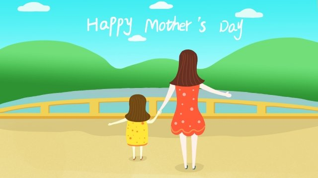 happy mothers day fresh illustration mother, Little Girl, Green Mountain, River illustration image