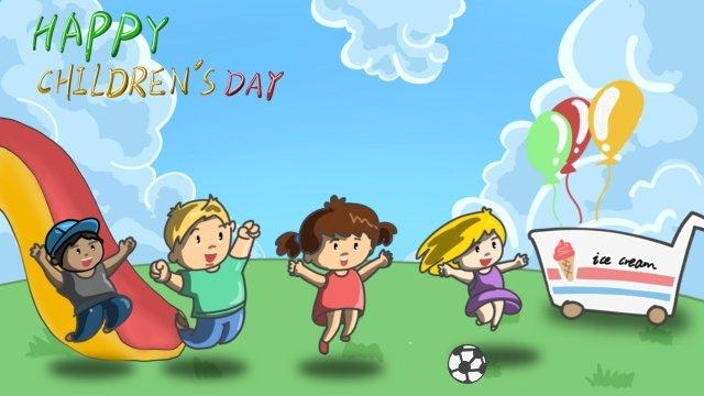 feliz slide sorvete criança Material de ilustração Imagens de ilustração