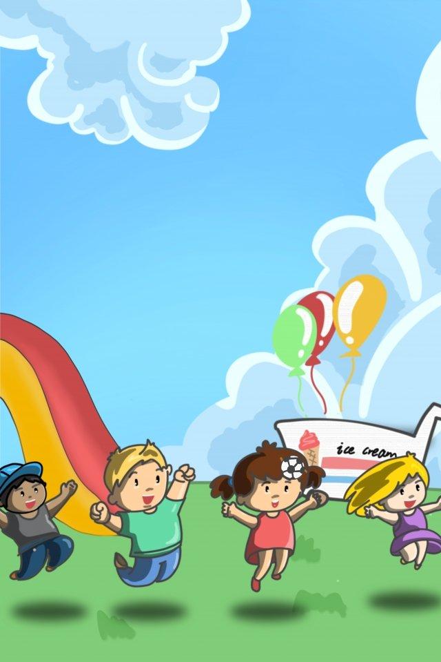 ハッピースライドアイスクリームの子 イラスト素材 イラスト画像
