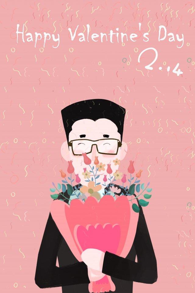 情人節快樂情人節花束男孩 插畫素材 插畫圖片