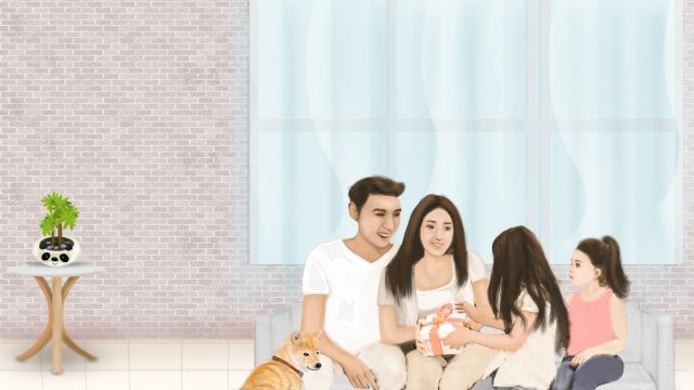 harmonious family home life a family of four mothers day gift, Mom And Dad, Family Pet, Potted Plant illustration image