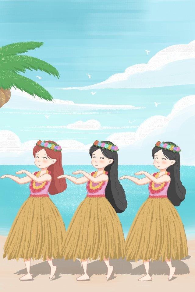ハワイ旅行旅行 イラスト画像