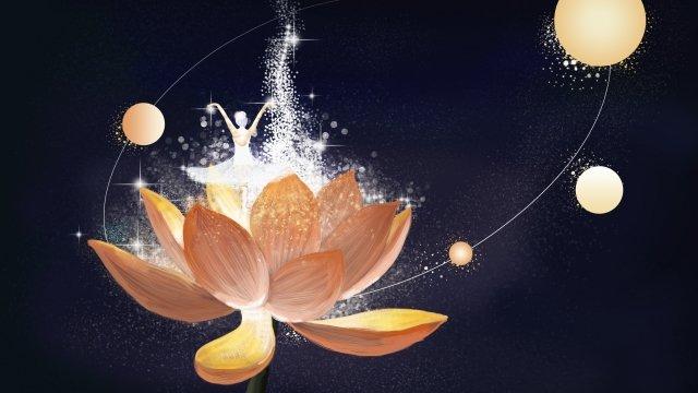 healing beautiful healing illustration beautiful background, Dream, Starry Sky, Beautiful Hand Painted illustration image