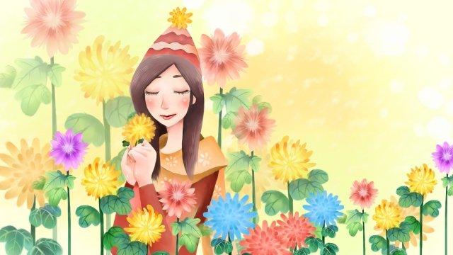 癒しの花女の子女の子 イラスト素材