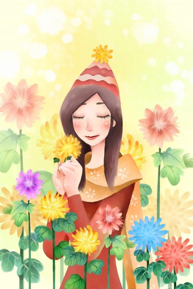 целебные цветы девочка девочка Ресурсы иллюстрации