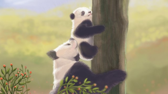 healing giant panda mother and child cute pet llustration image