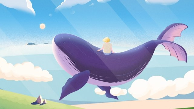 healing illustration hand painted whale, Ocean, Sea, Boy illustration image