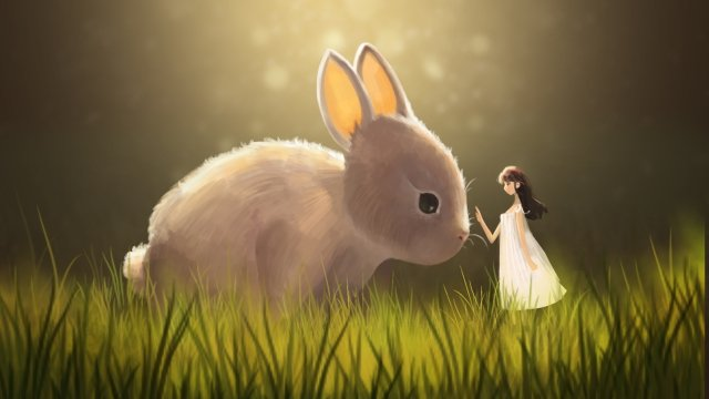 healing moe rabbit animal character, Girl, Healing, Moe Rabbit illustration image