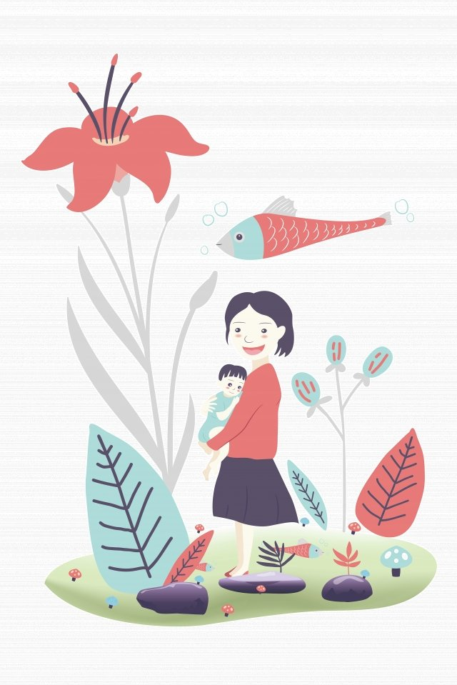 赤ちゃんの漫画のキャラクターの手描きの母親を保持している癒しの母親 イラスト画像