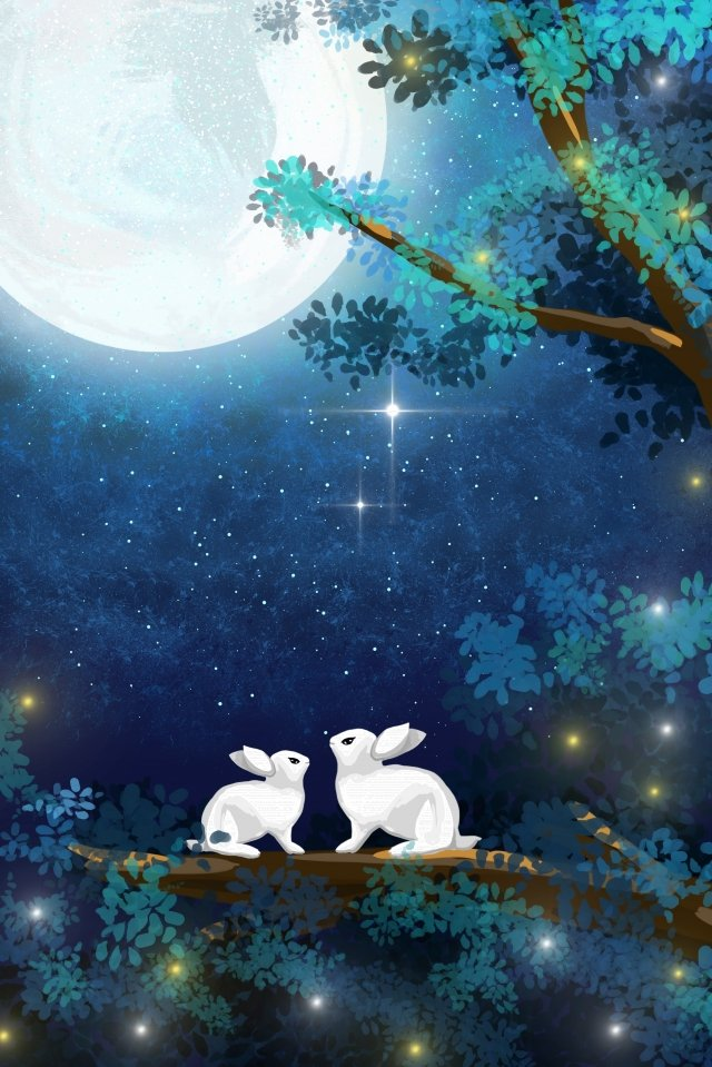 healing rabbit moonlight mid autumn festival llustration image