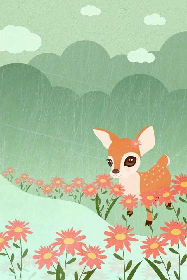 healing texture sika deer fawn, Landscape, River, Flower illustration image