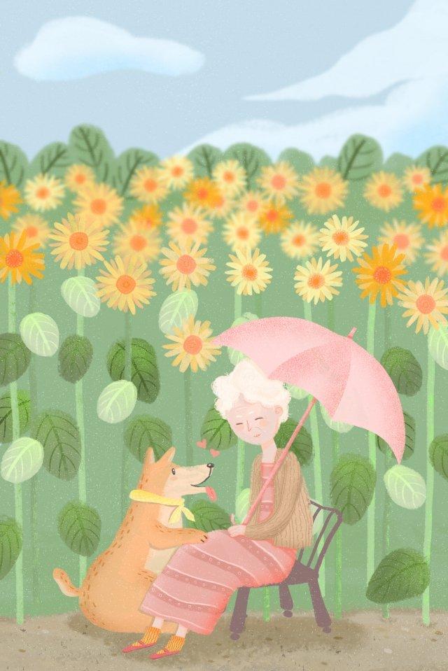 따뜻한 노인 동물을 치유 삽화 소재