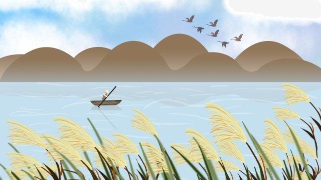 白い露hongyan小さなボートを癒し イラストレーション画像