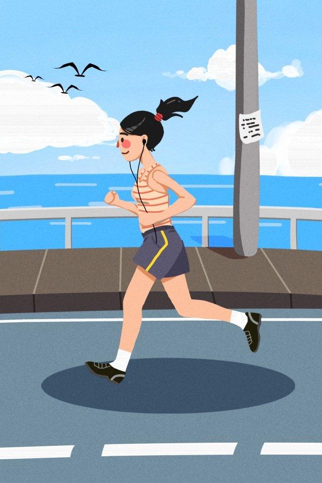 건강 운동 모션 실행 삽화 소재