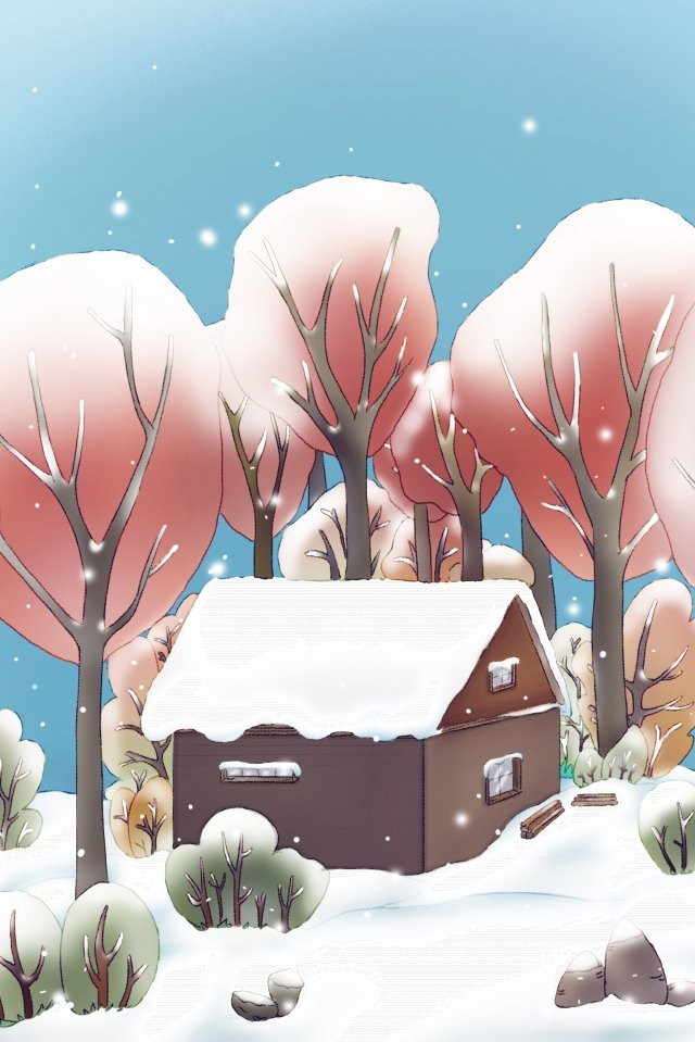 heavy snow forest chalet winter solstice llustration image illustration image