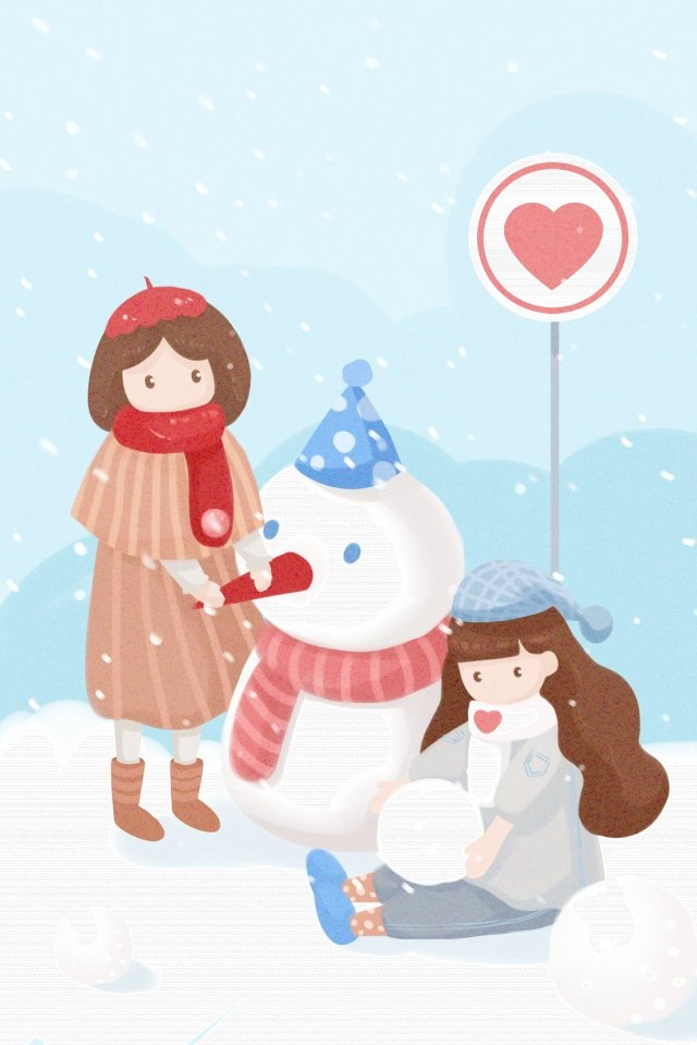heavy snow light snow snowing girl, Snowman, Stack, Hand Painted illustration image