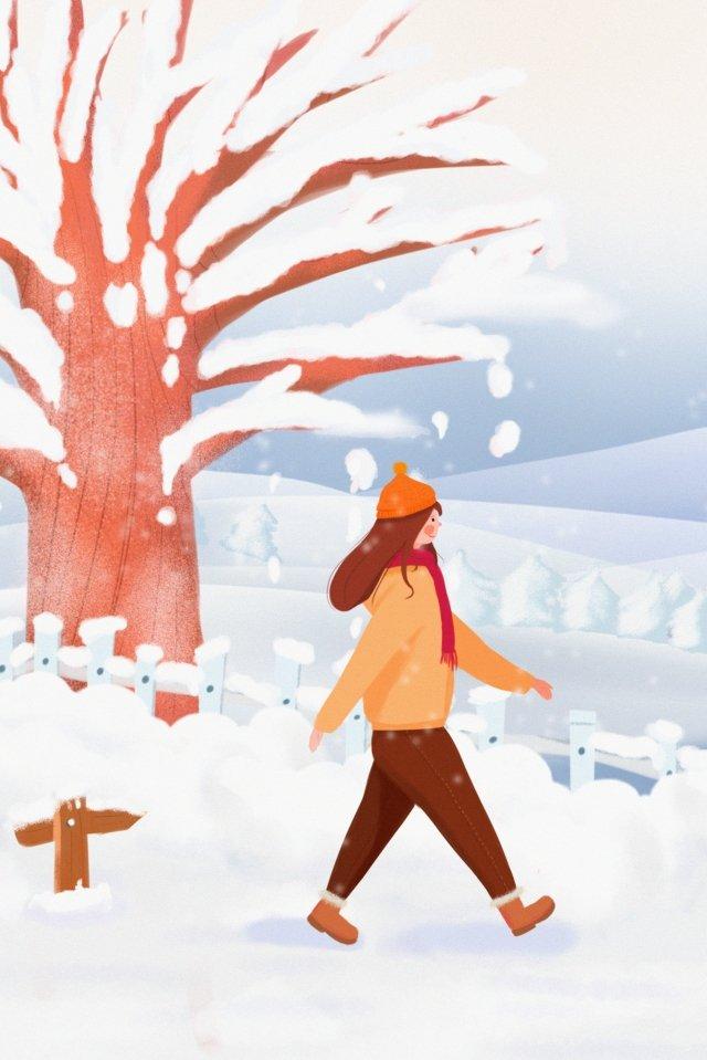 폭설 눈 현장 눈 산 죽은 나무 삽화 이미지