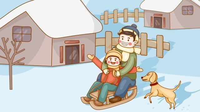 大雪ソーラー用語雪景色子供 イラスト素材 イラスト画像