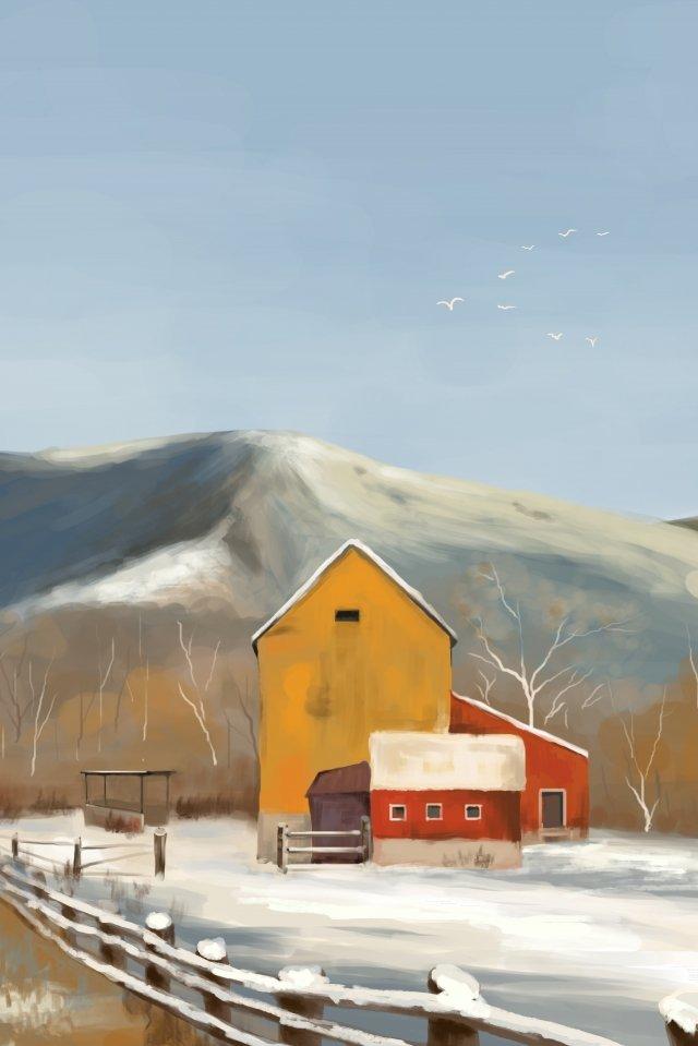 大雪ソーラー用語雪景色雪景色 イラスト素材 イラスト画像