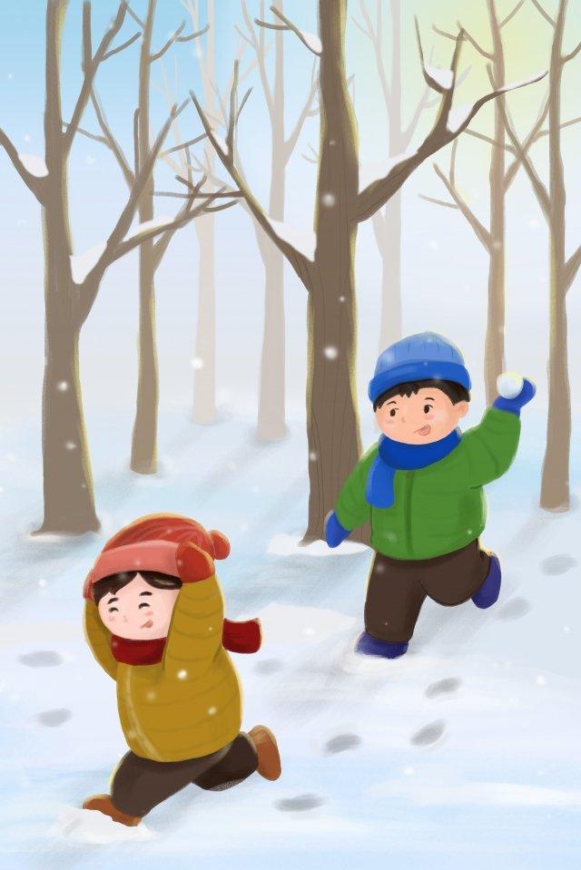 भारी बर्फ सर्दियों के ठंडे जंगल चित्रण छवि