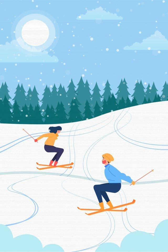 무거운 눈 겨울 스키 눈 현장 삽화 소재 삽화 이미지